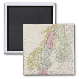 Antique Map of Sweden Square Magnet