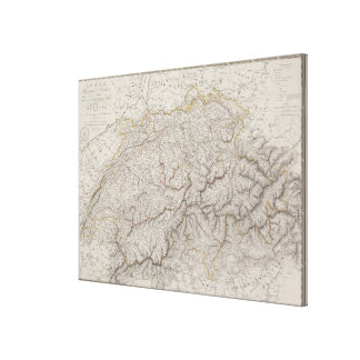 Antique Map of Switzerland Canvas Print
