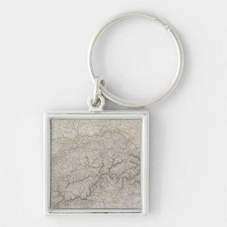 Antique Map of Switzerland Key Ring