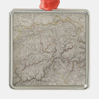 Antique Map of Switzerland Silver-Colored Square Decoration