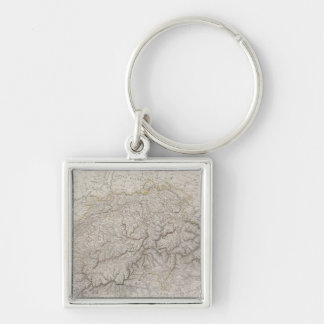 Antique Map of Switzerland Silver-Colored Square Key Ring