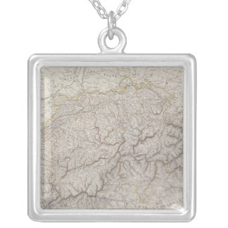 Antique Map of Switzerland Silver Plated Necklace