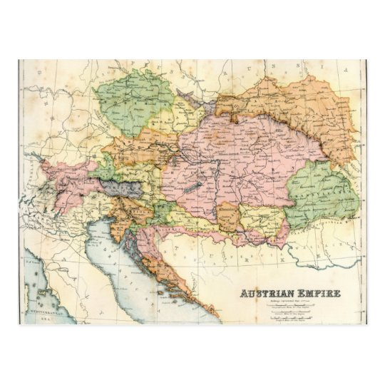 Antique map of the Austrian Empire Postcard