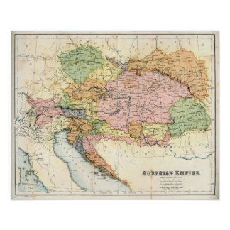 Antique map of the Austrian Empire Poster