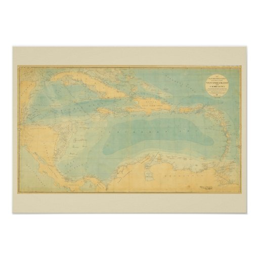 Antique Map of the Caribbean Sea Poster