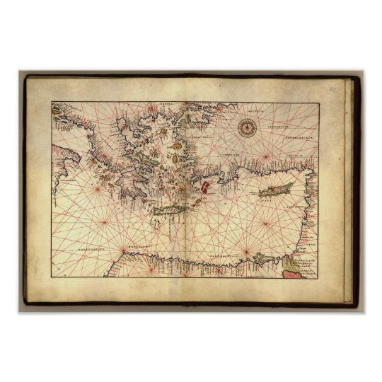 Antique Map of the Eastern Mediterranean Sea Poster