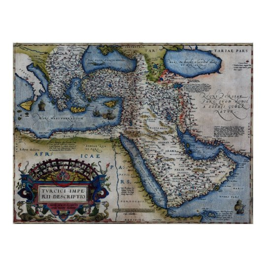 Antique Map of The Middle East Poster