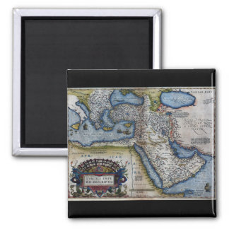 Antique Map of The Middle East Square Magnet