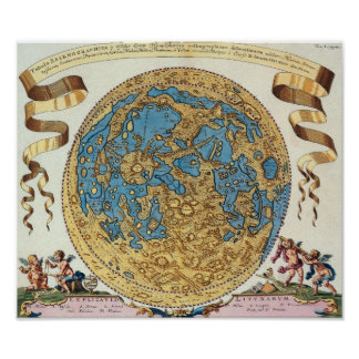 Antique Map Of The Moon Poster