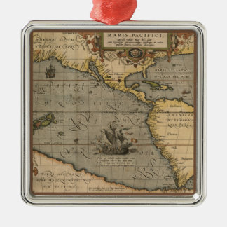 Antique Map of the Pacific Ocean Christmas Ornament