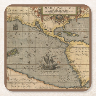 Antique Map of the Pacific Ocean Square Paper Coaster