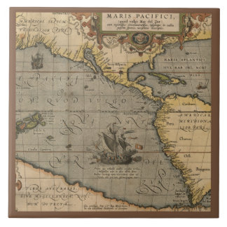 Antique Map of the Pacific Ocean Tile