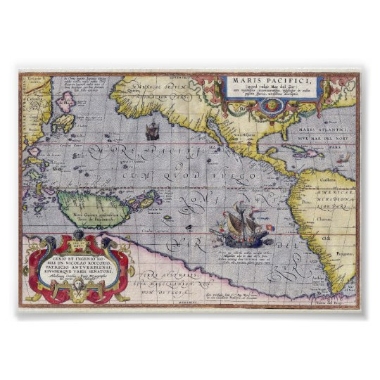 Antique map of the Pacific Ocean year 1589