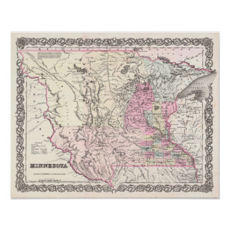Antique Map of the state of Minnesota Poster