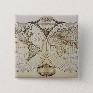 Antique Map of the World 15 Cm Square Badge