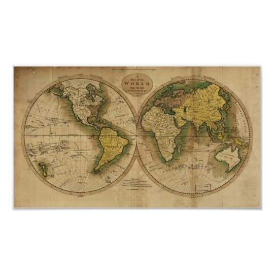 Antique Map of the World - 1795 Poster