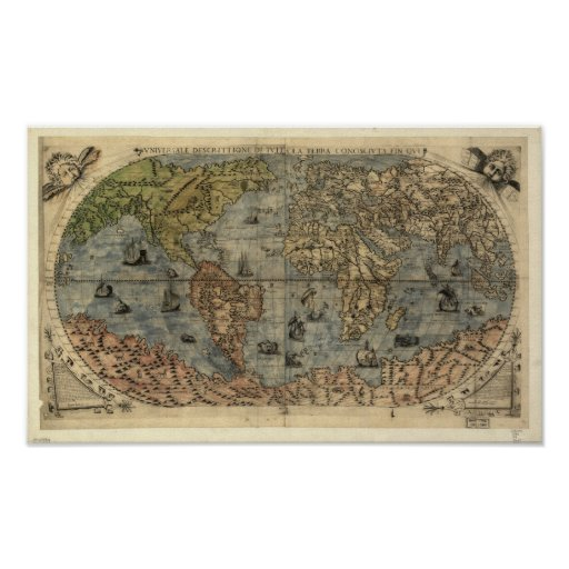 Antique Map of the World as of 1565