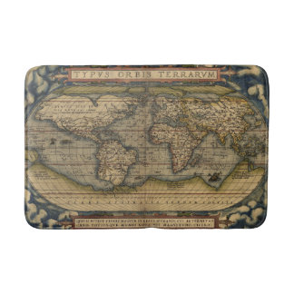 Antique Map of the World Bath Mats