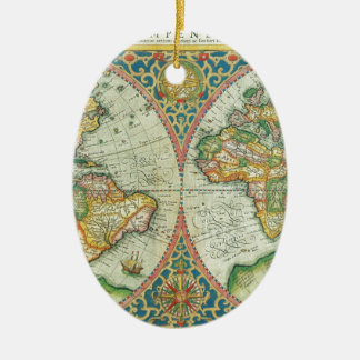 Antique Map of The World Ceramic Oval Decoration