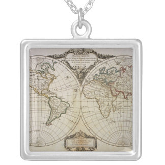 Antique Map of the World Silver Plated Necklace