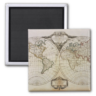 Antique Map of the World Square Magnet