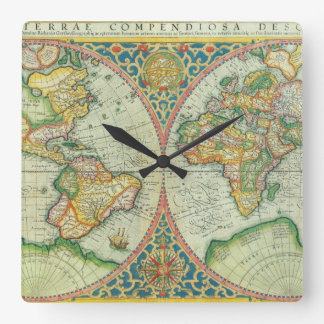 Antique Map of The World Square Wall Clock