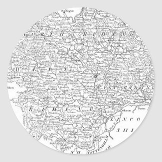 Antique Map of Yorkshire 1786 Classic Round Sticker