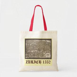 Antique map of Zurich 1552 Tote Bag