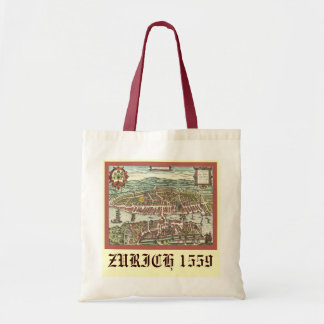 Antique map of Zurich 1559 Budget Tote Bag