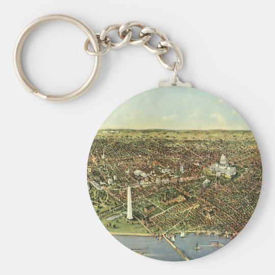 Antique Map, Panoramic View of Washington DC Basic Round Button Key Ring