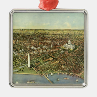 Antique Map, Panoramic View of Washington DC Christmas Ornament
