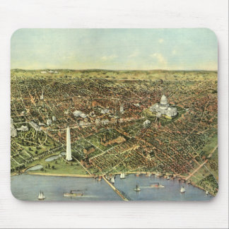 Antique Map, Panoramic View of Washington DC Mouse Mat