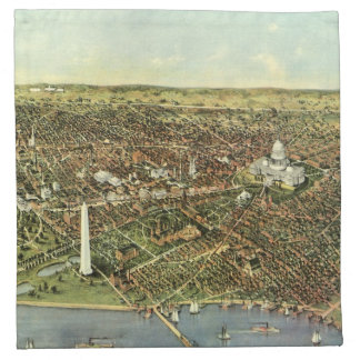 Antique Map, Panoramic View of Washington DC Napkin