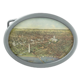 Antique Map, Panoramic View of Washington DC Oval Belt Buckle