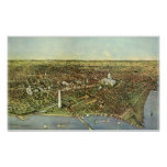 Antique Map, Panoramic View of Washington DC Poster