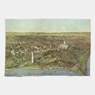 Antique Map, Panoramic View of Washington DC Tea Towel