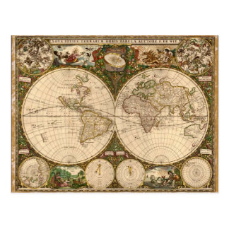 ANTIQUE MAP POSTCARD