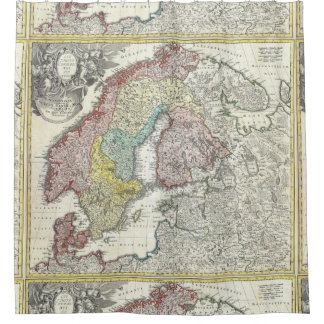 Antique Map Scandinavia Vintage Northern Europe Shower Curtain