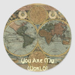Antique Map Series Classic Round Sticker