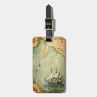 Antique Map & Ship Luggage Tag