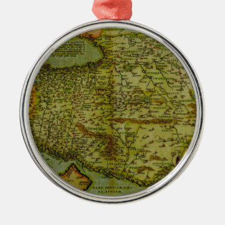 Antique map Silver-Colored round decoration