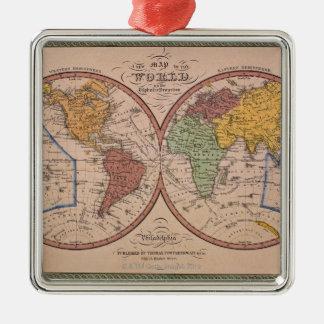 Antique Map Silver-Colored Square Decoration