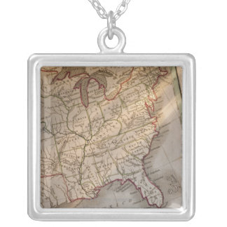 Antique map silver plated necklace