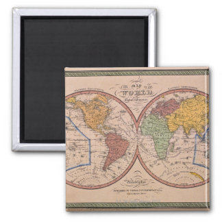 Antique Map Square Magnet