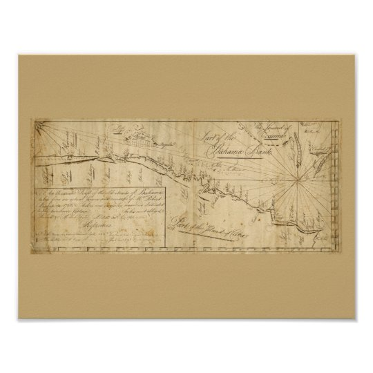 Antique Map Straits of Bahama Nautical Chart