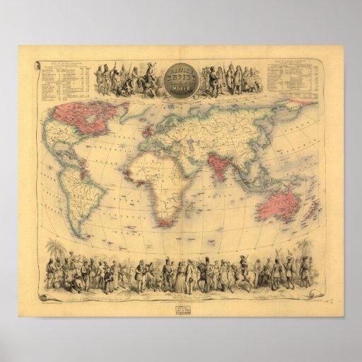 Antique Map - The British Empire 1850 Poster
