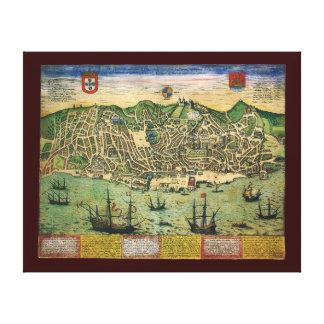 Antique Map, Town Plan of Lisbon, Portugal, 1598 Canvas Print