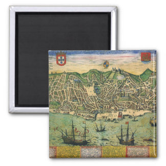Antique Map, Town Plan of Lisbon, Portugal, 1598 Square Magnet