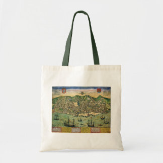 Antique Map, Town Plan of Lisbon, Portugal, 1598 Tote Bag
