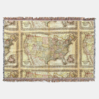 Antique Map United States America USA Vintage 1867 Throw Blanket